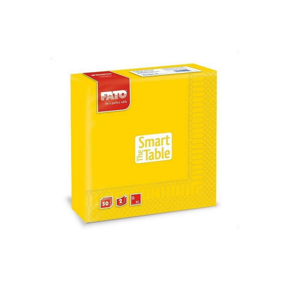 Szalvéta, 33x33cm, sárga, 2 rétegű, 50 lap/csomag, 24 csomag/karton