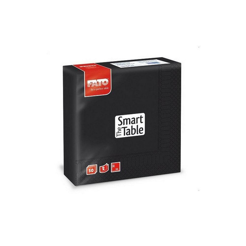 Szalvéta, 33x33cm, fekete, 2 rétegű, 50 lap/csomag, 24 csomag/karton