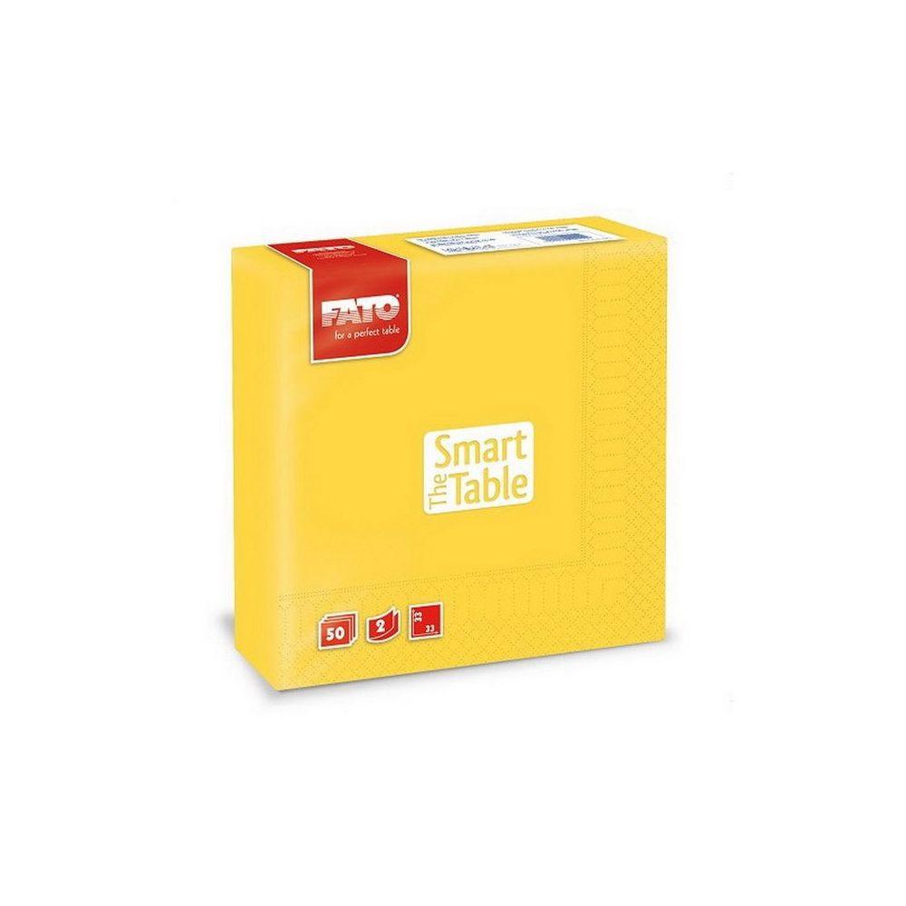 Szalvéta, 33x33cm, citromsárga, 2 rétegű, 50 lap/csomag, 24 csomag/karton