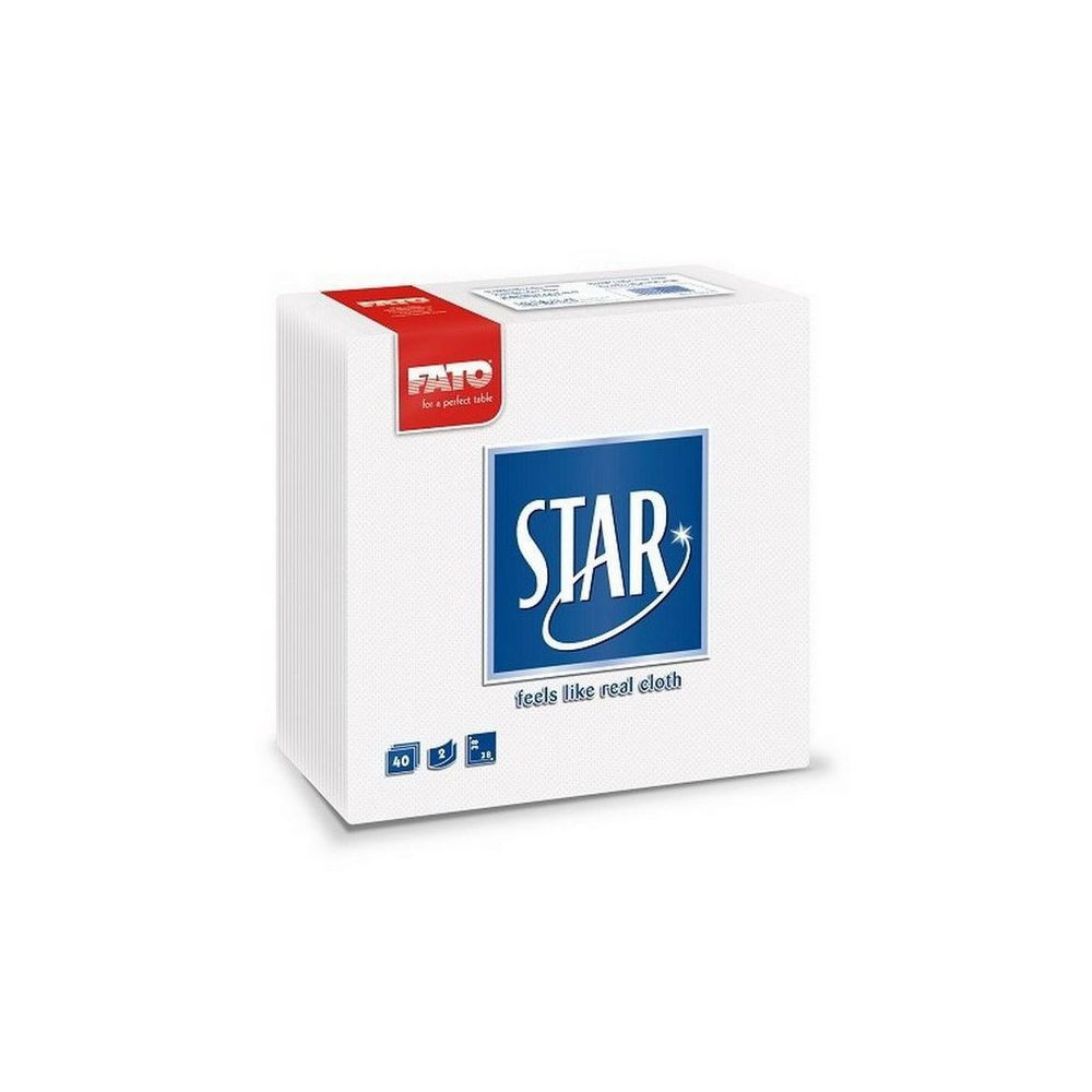 Sztár szalvéta, 2 rétegű, 38x38cm, fehér, 40 szál/csomag, 30 csomag/karton
