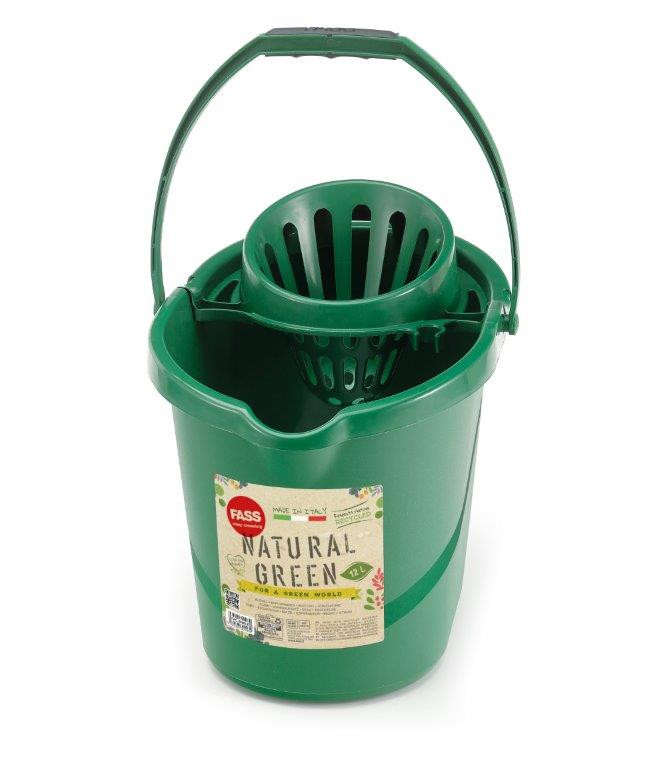 Fass Natural Green felmosó vödör csavarókosárral, ovális, zöld