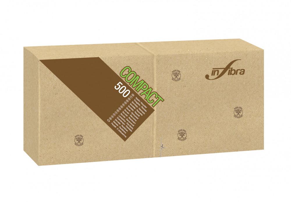 Infibra Szalvéta Madre Terra, 1 rétegű, 30x30cm, barna, 100% eco, 500 lap/csomag