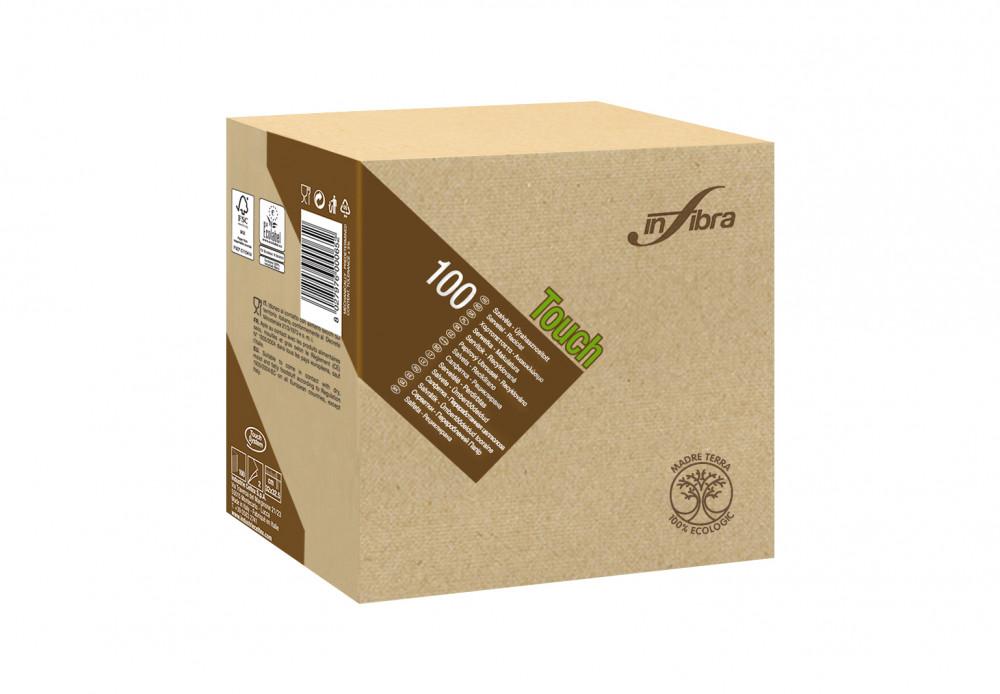 Infibra Szalvéta Madre Terra, 2 rétegű, 33x33cm, barna, 100% eco, 100 lap/csomag