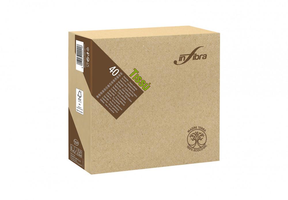 Infibra Szalvéta Madre Terra, 2 rétegű, 38x38cm, barna, 100% eco, 40 lap/csomag