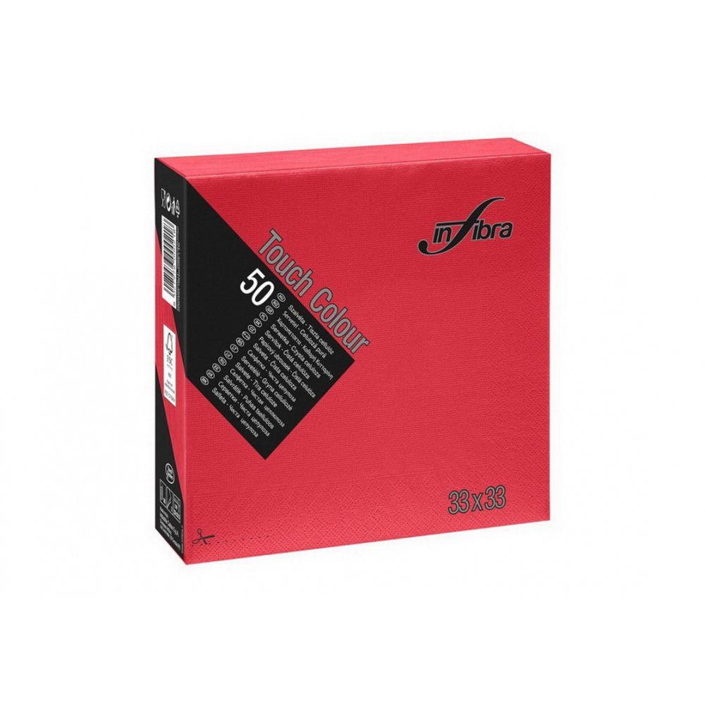 Infibra Szalvéta 33x33cm piros 2 réteg 50 lap/csomag (24 csomag/karton)