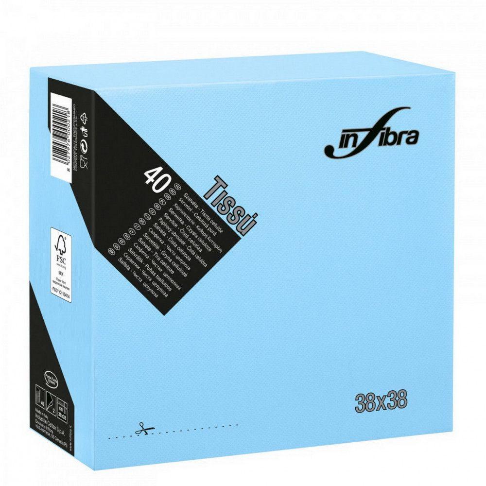 Infibra Szalvéta 38x38cm Világoskék 2 réteg 40 lap/csomag (36 csomag/karton)