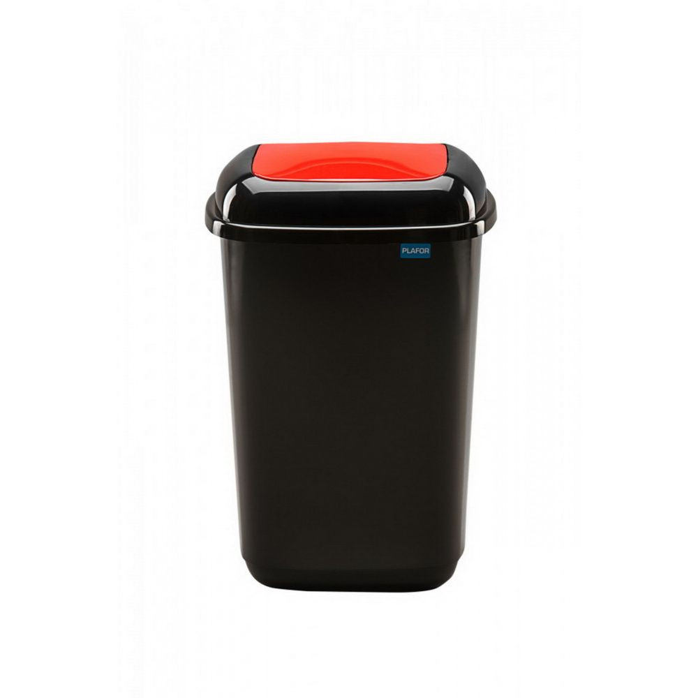 Plafor Quatro rugós  billenő fedeles szemetes 45L fekete/piros
