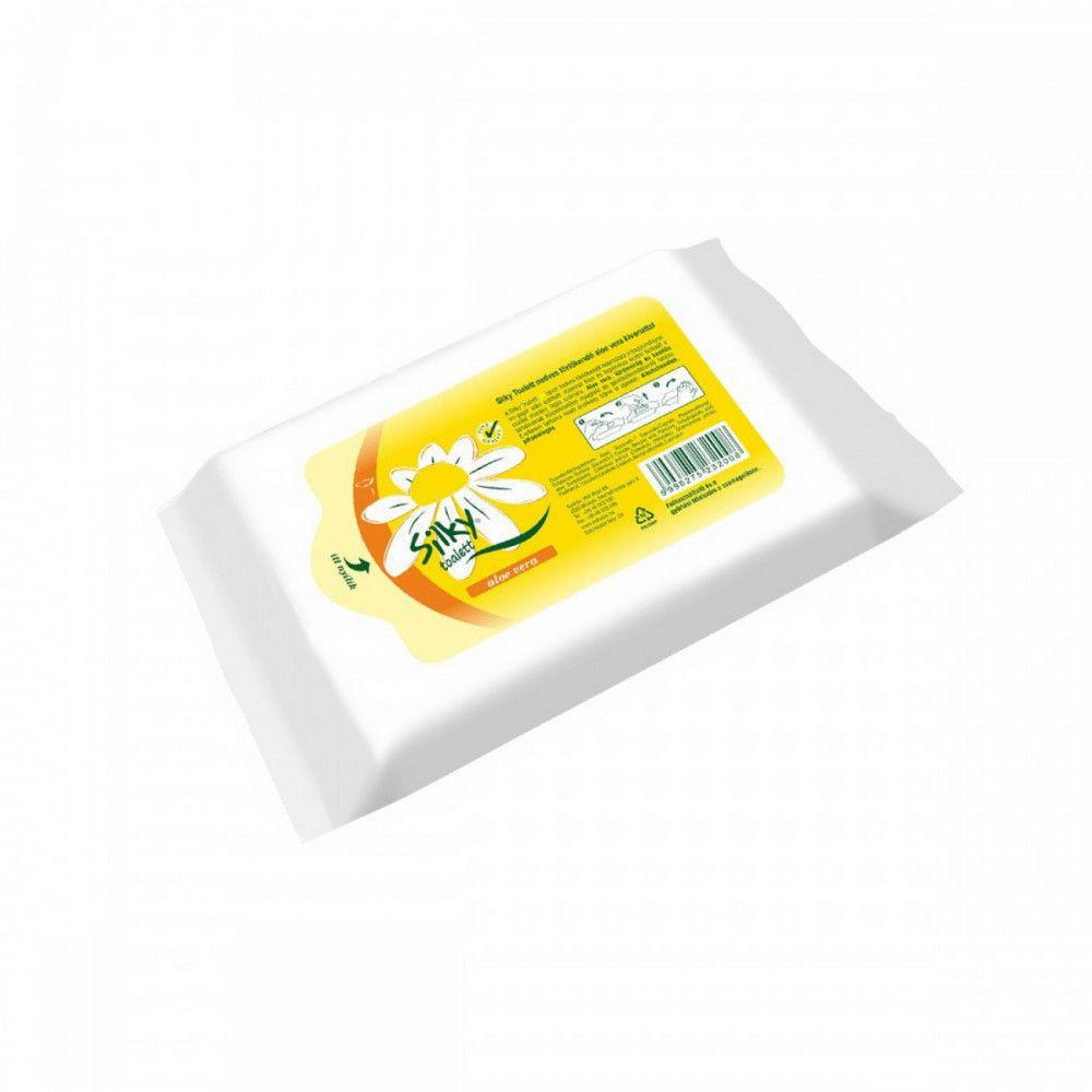 Nedves tisztító és toalettkendő aloe vera kivonattal Silky 36 darabos, wc-be dobható