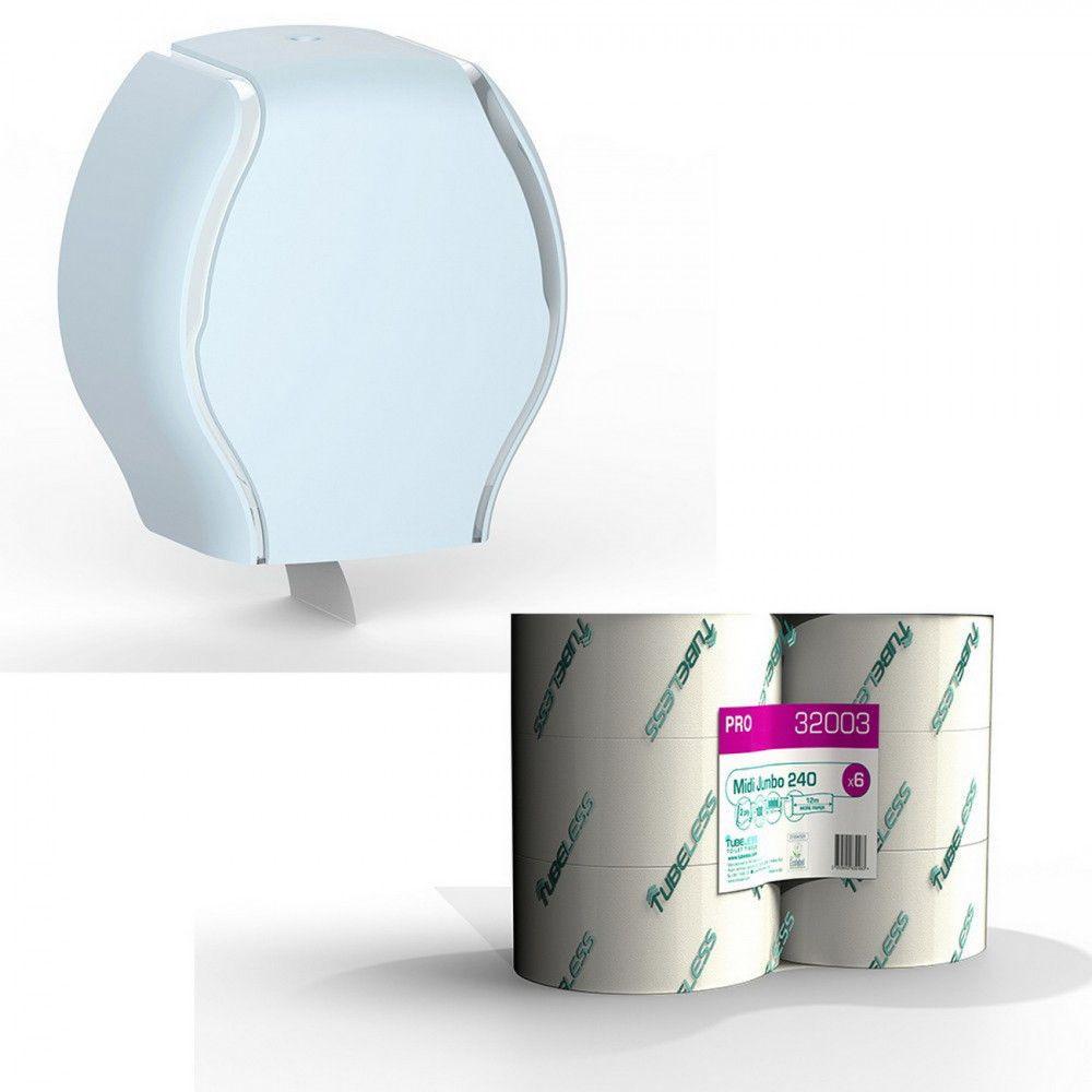 Tubeless MIDI toalettpapír adagoló 1 db + 1 zsugor TUB32003 toalettpapír akciós csomag