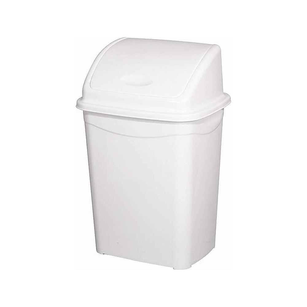 Billenőfedeles szemetes kuka, műanyag, luxury fehér, 26 literes