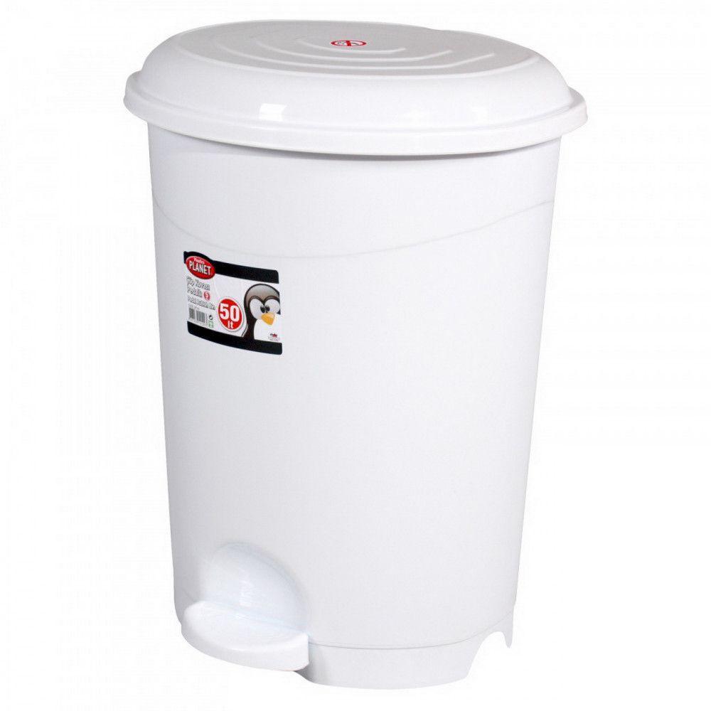Pedálos szemetes kuka, műanyag, LUXURY fehér, kivehető kosárral, 50L NO5