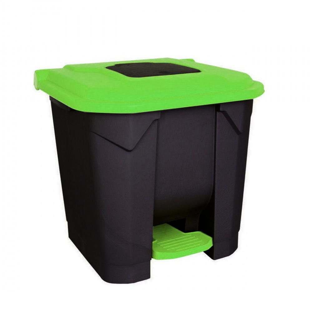Szelektív hulladékgyűjtő konténer, műanyag, pedálos, fekete/zöld, 30L