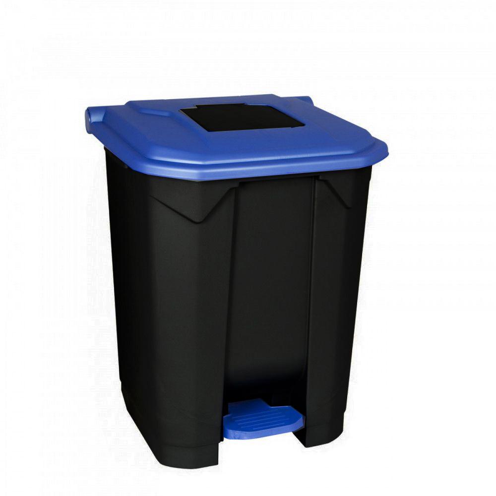 Szelektív hulladékgyűjtő konténer, műanyag, pedálos, fekete/kék, 50L