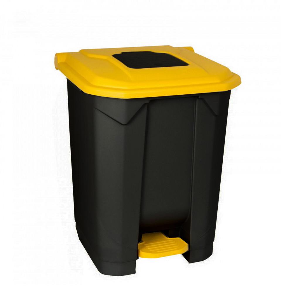 Szelektív hulladékgyűjtő konténer, műanyag, pedálos, fekete/sárga, 50L