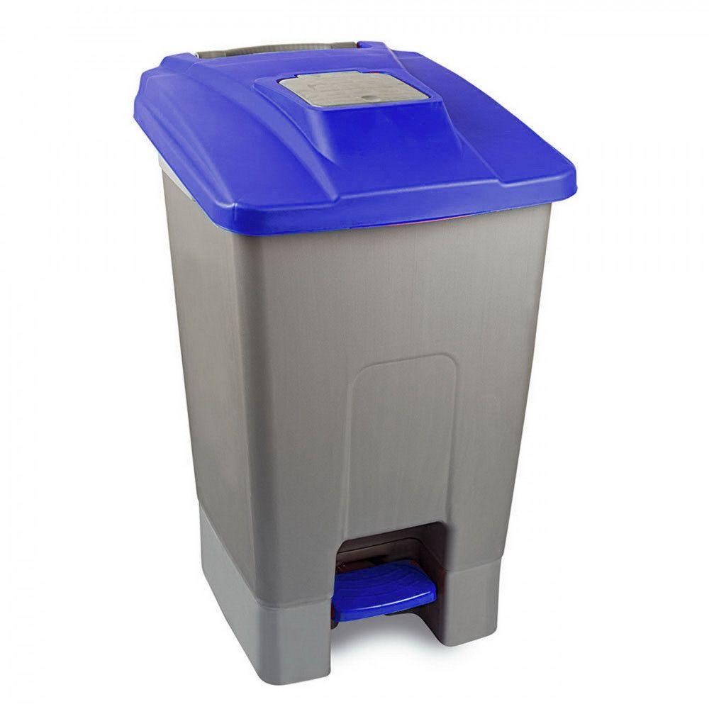 Szelektív hulladékgyűjtő konténer, műanyag, pedálos, kék, 100L