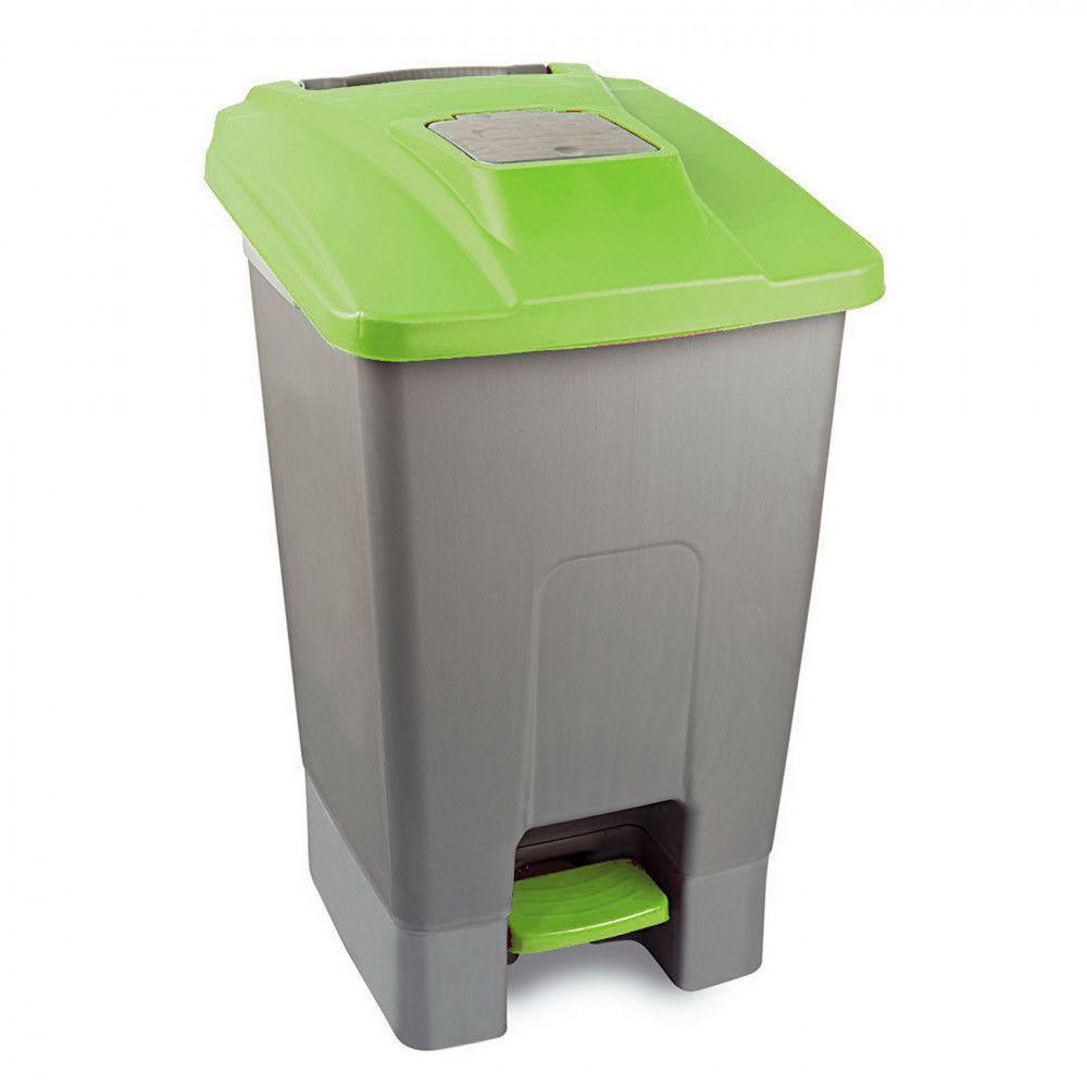 Szelektív hulladékgyűjtő konténer, műanyag, pedálos, zöld, 100L