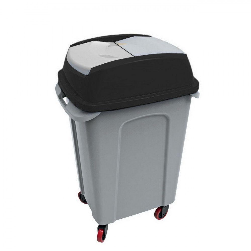 Hippo Billenős Szelektív hulladékgyűjtő szemetes,műanyag, fekete, 70L