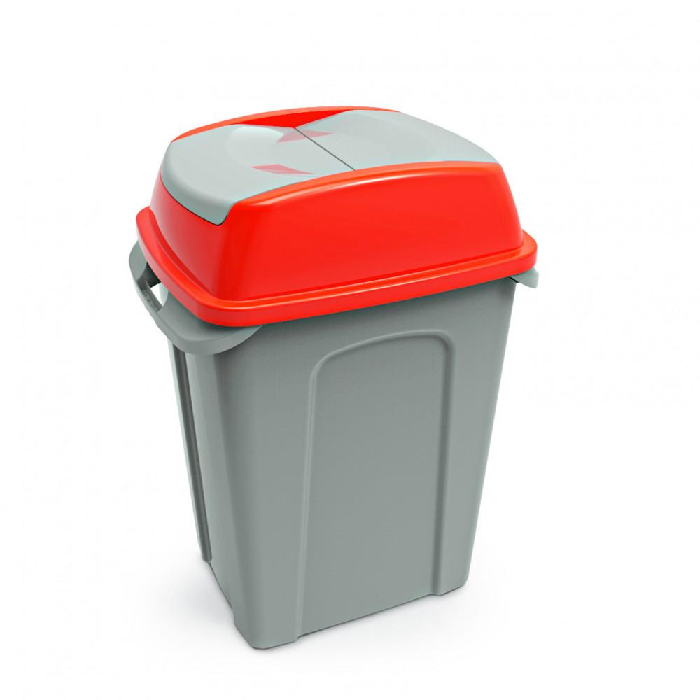 Hippo Billenős Szelektív hulladékgyűjtő szemetes,műanyag, piros, 70L