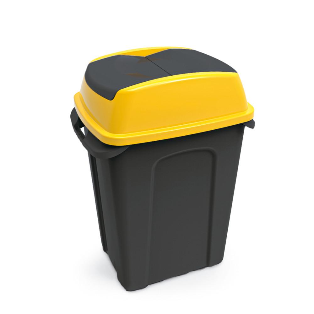 Hippo Billenős Szelektív hulladékgyűjtő szemetes, műanyag, fekete/sárga, 70L