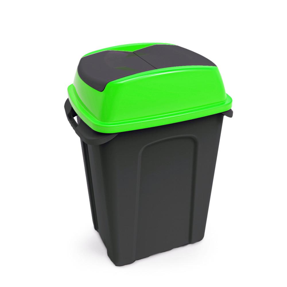 Hippo Billenős Szelektív hulladékgyűjtő szemetes, műanyag, fekete/zöld, 70L